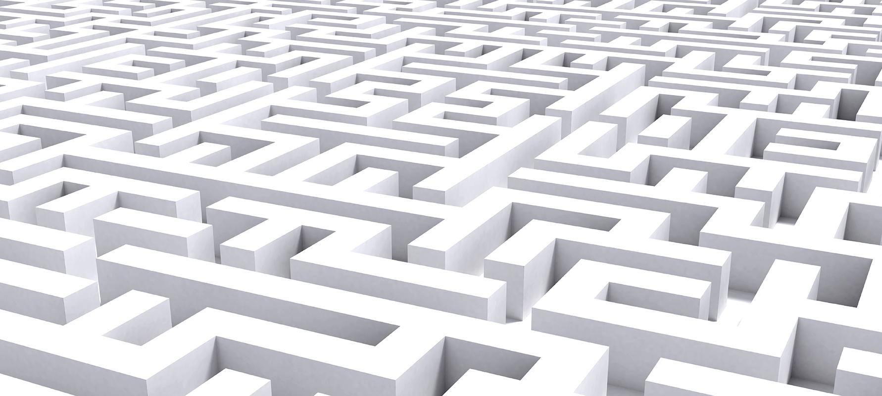 weißes Labyrinth von oben