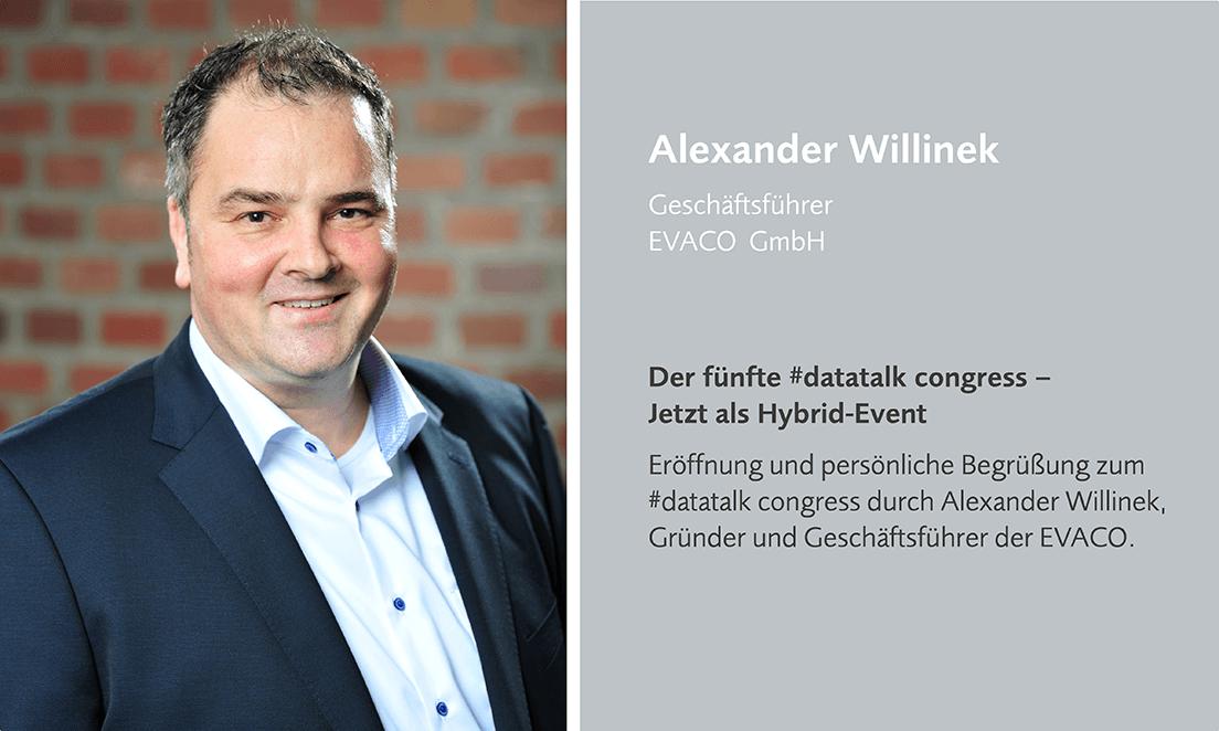 Alexander Willinek eröffnet den datatalk congress