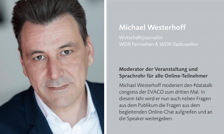 Moderator Michael Westerhoff führt durch den datatalk congress