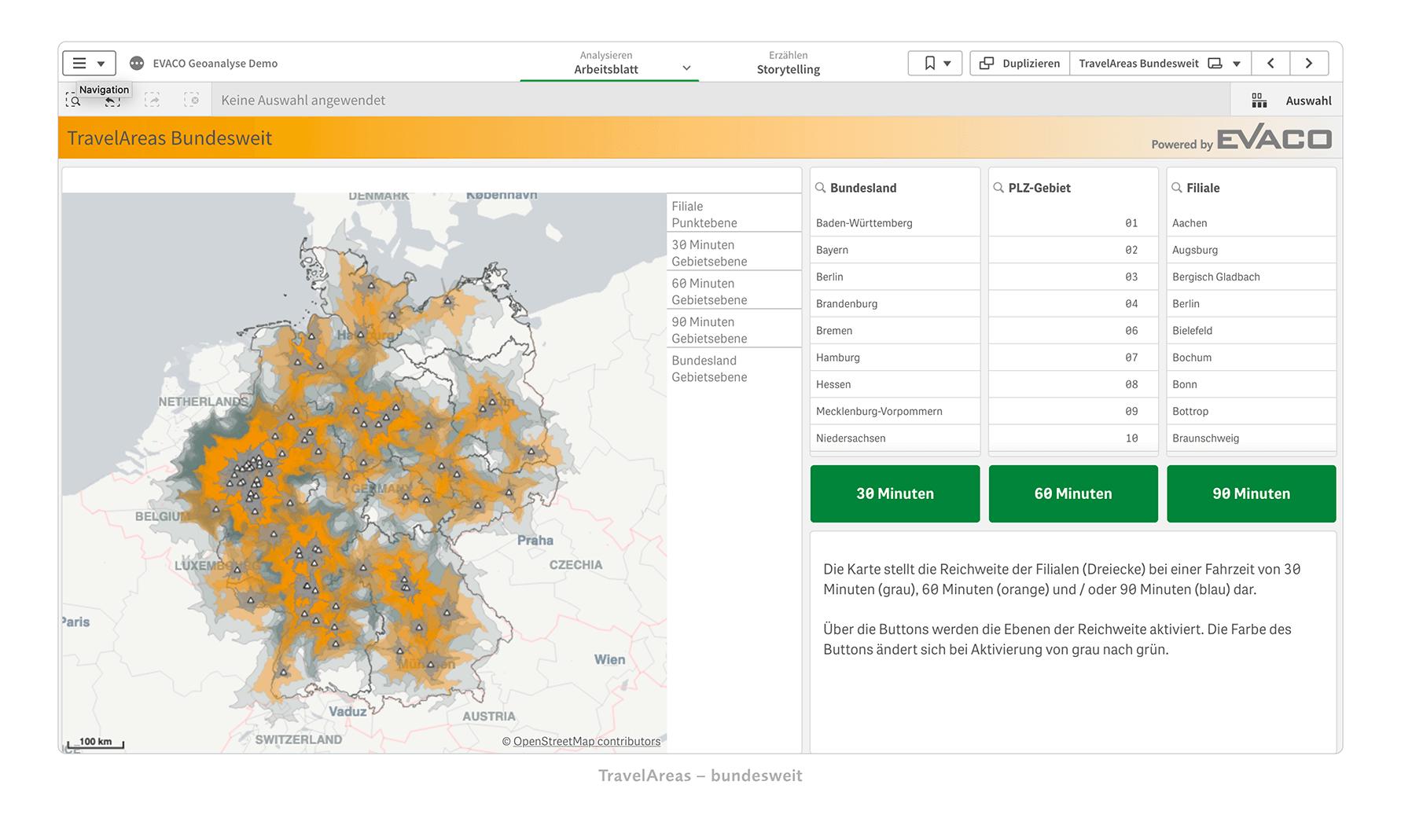 TravelAreas für Analysen von Reichweiten und Entfernungen nutzen