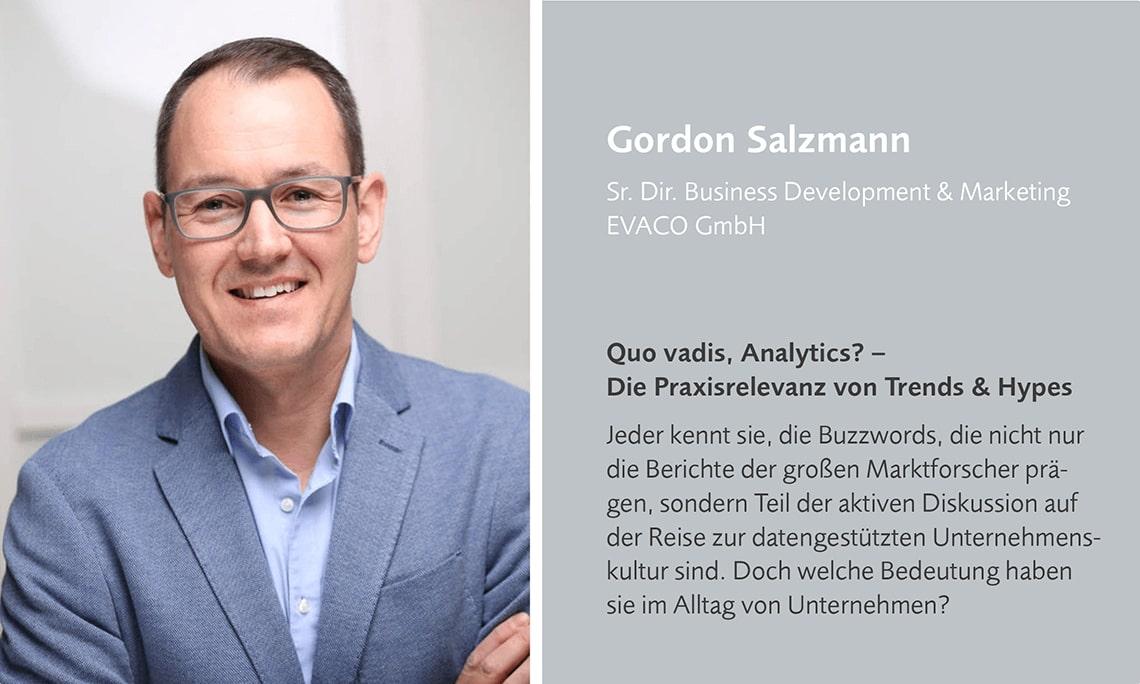 Gordon Salzmann erklärt den Ganzheitlichen Lösungsansatz von EVACO auf dem datatalk congress.