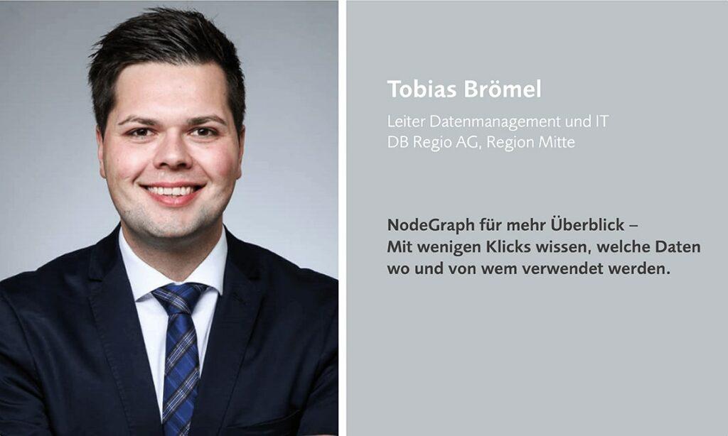 Tobias Brömel von der DB Regio AG spricht auf dem datatalk zum Thema NodeGraph.